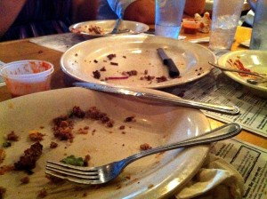 Image of empty plates of food
